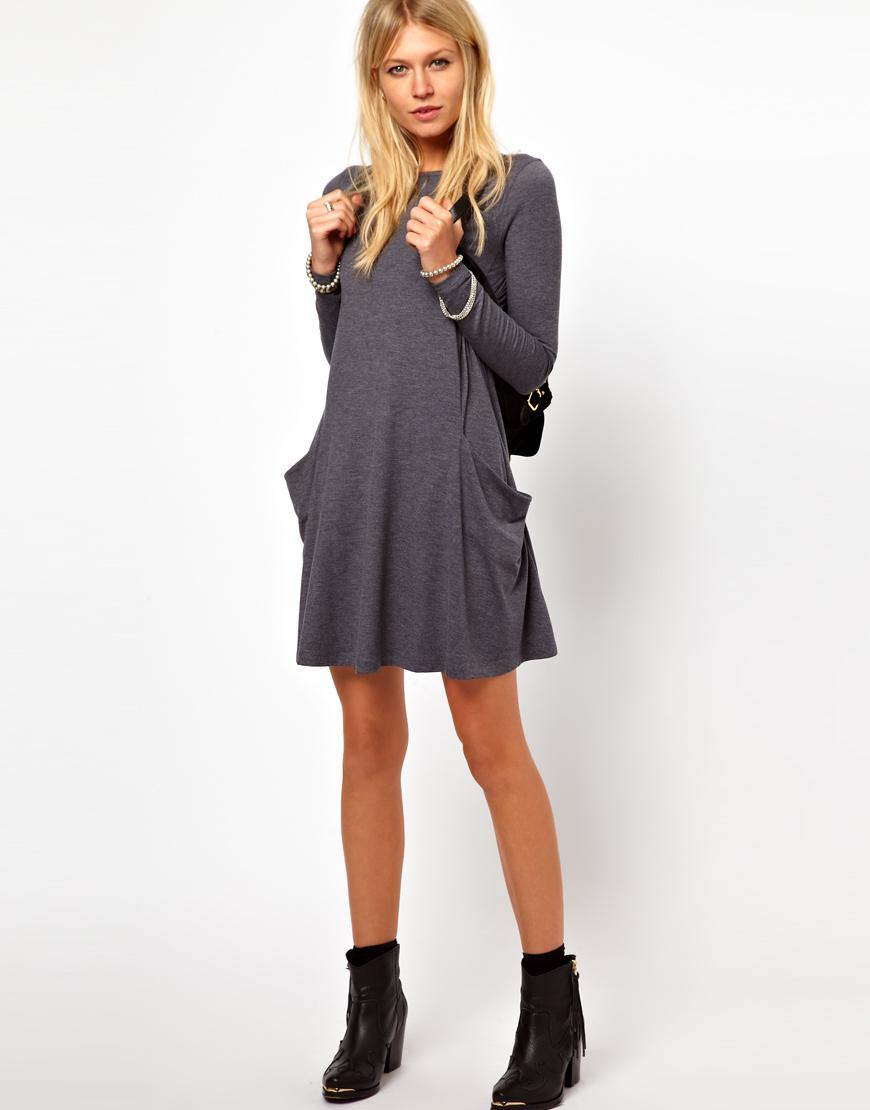 damen tunika mit taschen longshirt oberteil top kleid minikleid bluse s m l xl ebay. Black Bedroom Furniture Sets. Home Design Ideas